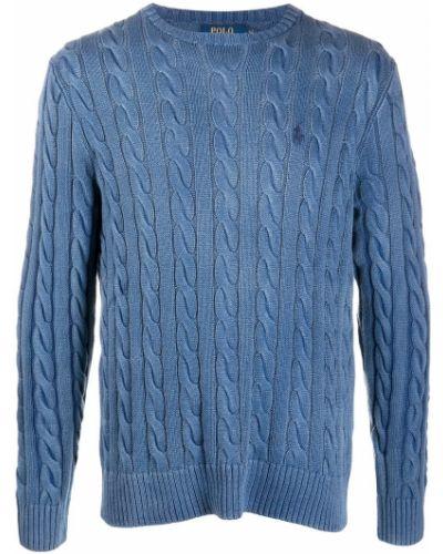 Bawełna niebieski koszulka polo z haftem z długimi rękawami Polo Ralph Lauren