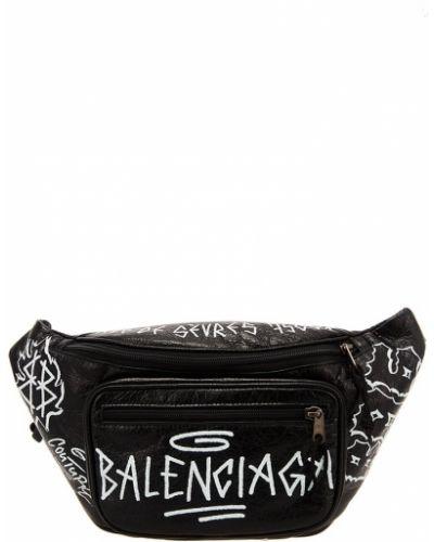 Поясная сумка черная кожаная Balenciaga