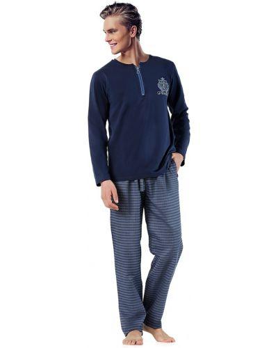 Синяя пижама с карманами на шнуровке Doremi