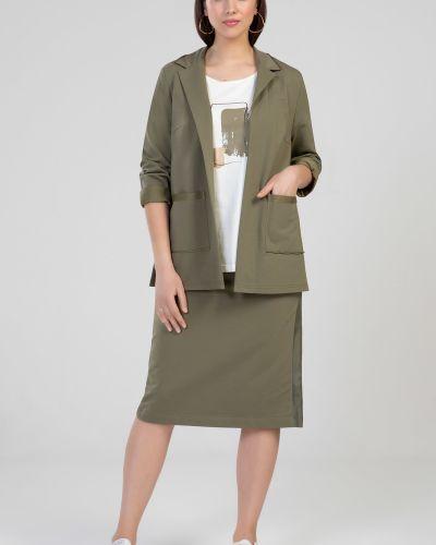 Зеленая прямая юбка из плащевки прима линия