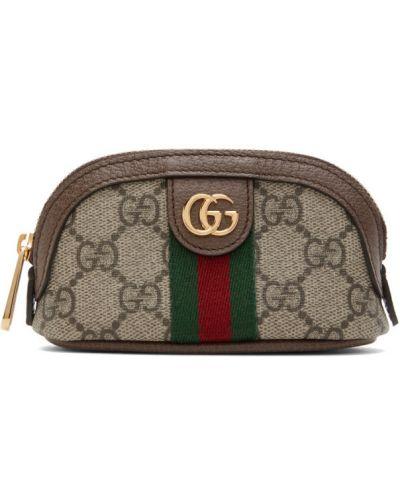 Zielony brezentowy torebka na łańcuszku prążkowany Gucci