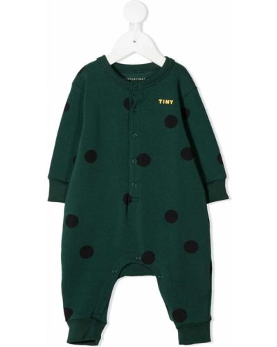 Зеленый ромпер с длинными рукавами с манжетами с круглым вырезом Tiny Cottons