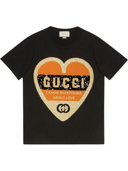 Топ с пайетками черный Gucci