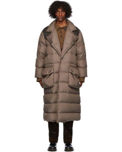 Кожаное черное стеганое пальто с накладными карманами с воротником Phipps