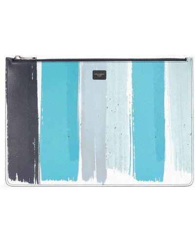 Синяя кожаная сумка в полоску Dolce & Gabbana