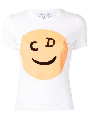 Biały t-shirt bawełniany z printem Christian Dior