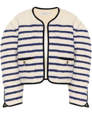 Белый пиджак твидовый оверсайз с нашивками Philosophy Di Lorenzo Serafini