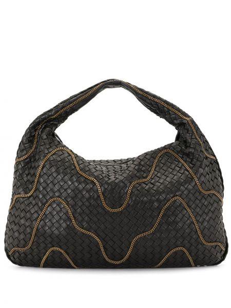 Черная сумка-тоут на молнии с декоративной отделкой с карманами Bottega Veneta Pre-owned