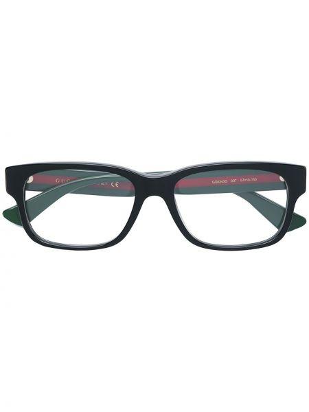 Oprawka do okularów złoto prostokątny z paskami Gucci Eyewear