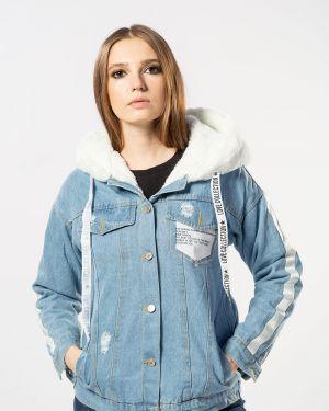 С рукавами хлопковая синяя джинсовая куртка Coco Max