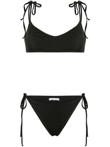 Пляжный черный купальник с шортами с вырезом с завязками Sian Swimwear