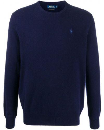 Kaszmir niebieski koszulka polo z haftem z długimi rękawami Polo Ralph Lauren