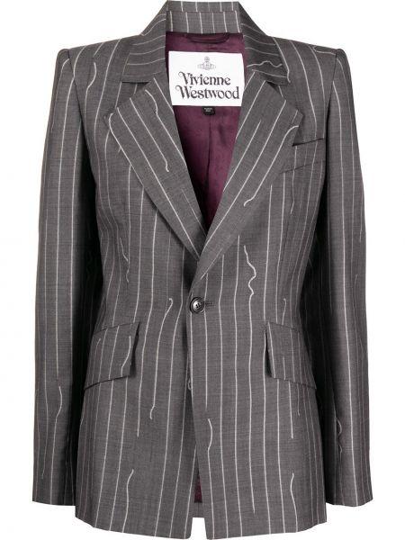 Шерстяной серый классический пиджак на пуговицах Vivienne Westwood