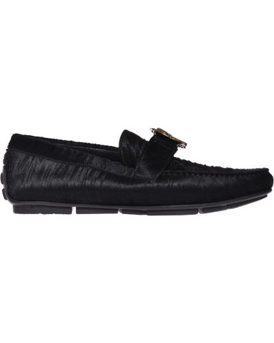 Мокасины кожаные черные Roberto Cavalli