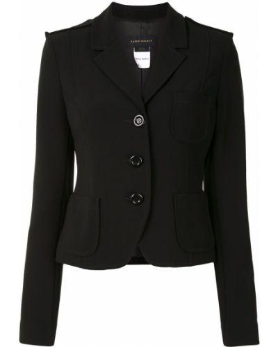 Однобортный черный удлиненный пиджак с карманами Karen Walker