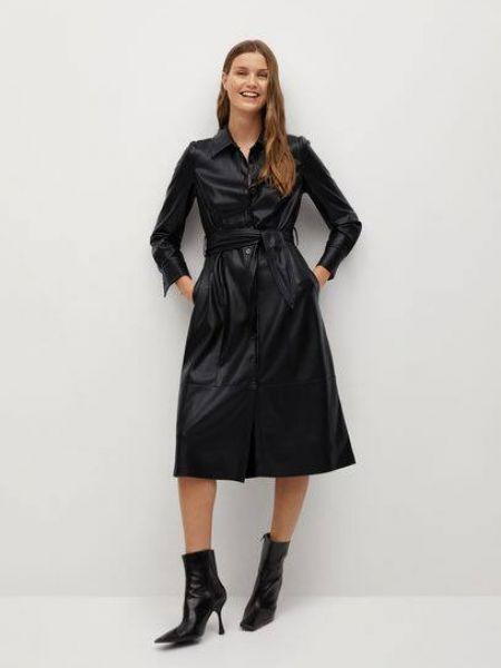 Кожаное с рукавами черное платье миди Mango