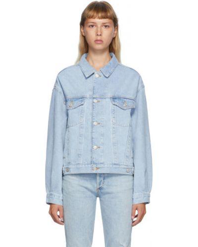 Długo dżinsowa jeansy z kieszeniami srebro Agolde