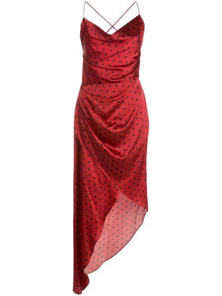Sukienka asymetryczna w grochy z jedwabiu Haney
