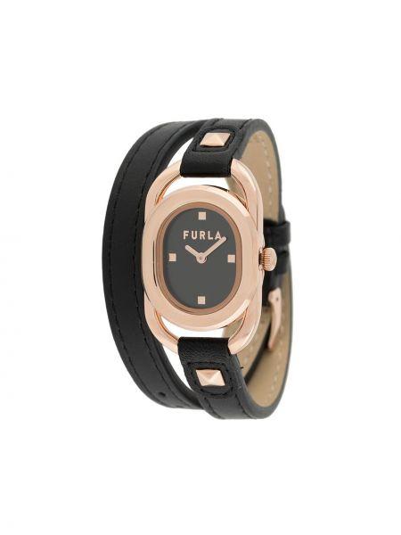 Кожаные золотистые часы золотые Furla