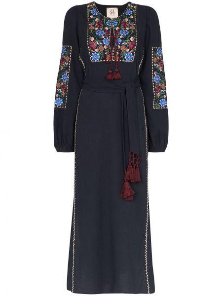 Niebieska sukienka długa z długimi rękawami z haftem Figue