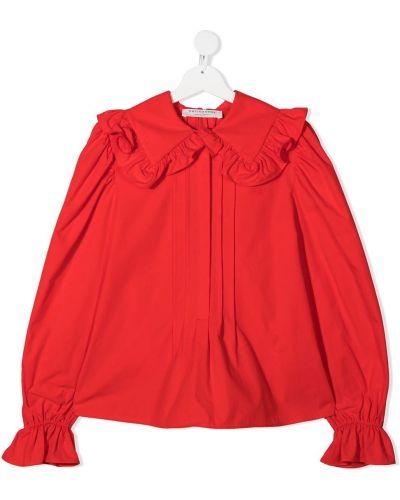 Хлопковая красная блузка с воротником Philosophy Di Lorenzo Serafini Kids
