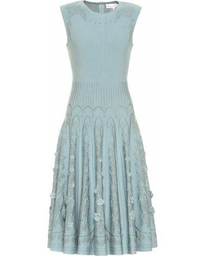 Плиссированное синее платье миди из вискозы Oscar De La Renta