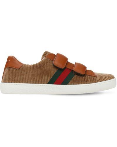 Z paskiem sneakersy spodnie sztruksowe Gucci
