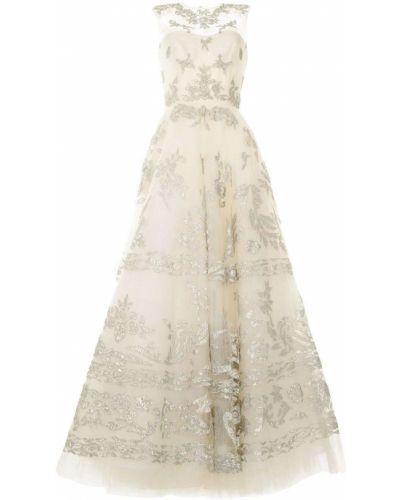 Вечернее платье с люрексом - серое Oscar De La Renta