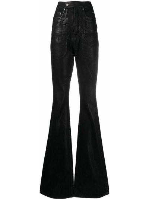 Spodnie z wysokim stanem - czarne Rick Owens