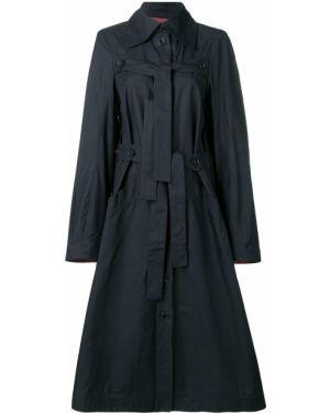 Расклешенное синее пальто классическое с воротником Henrik Vibskov
