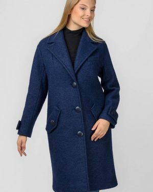 Синее пальто с капюшоном Raslov