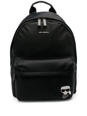 Czarny plecak skórzany z printem Karl Lagerfeld