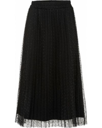 Плиссированная черная плиссированная юбка на резинке из фатина Bonprix
