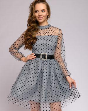 Коктейльное платье из фатина с поясом 1001 Dress