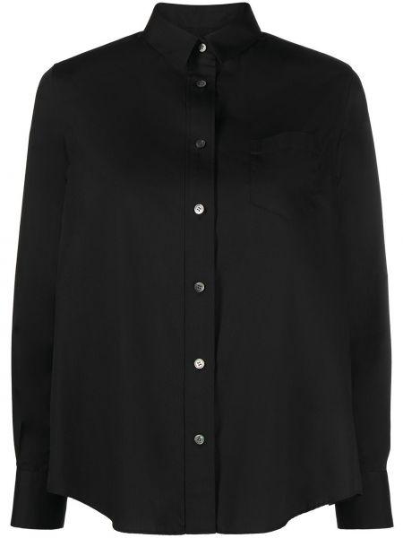 Хлопковая черная классическая рубашка с длинными рукавами Sacai