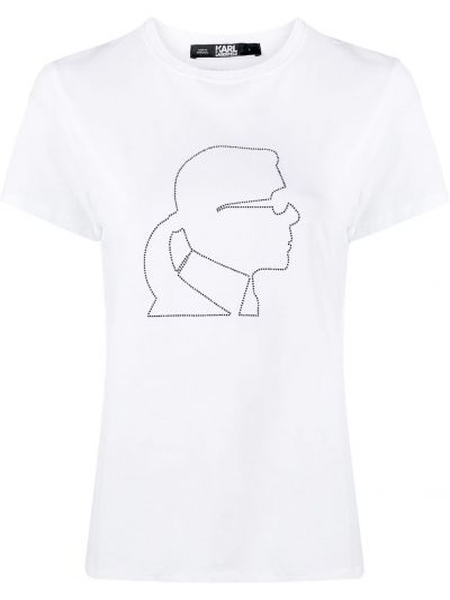 Хлопковая с рукавами белая футболка Karl Lagerfeld