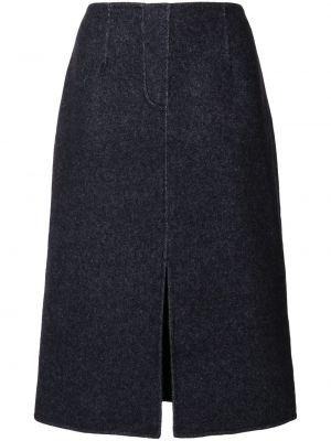 Нейлоновая синяя юбка миди с разрезом Goen.j