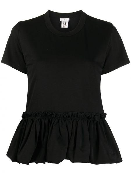 Черная прямая рубашка с коротким рукавом круглая с короткими рукавами Comme Des Garçons Noir Kei Ninomiya