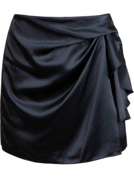 Прямая шелковая с завышенной талией юбка мини с драпировкой Michelle Mason