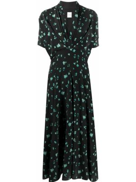 Шелковое платье миди - черное Paul Smith