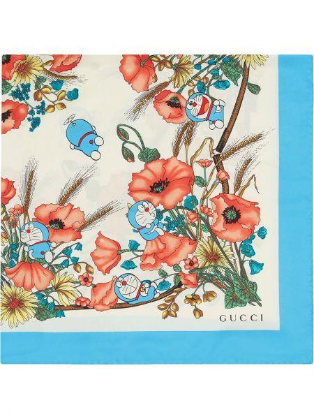 Jedwab niebieski szalik plac Gucci