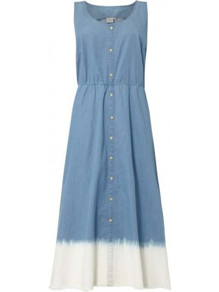 Niebieska sukienka rozkloszowana bawełniana Junarose