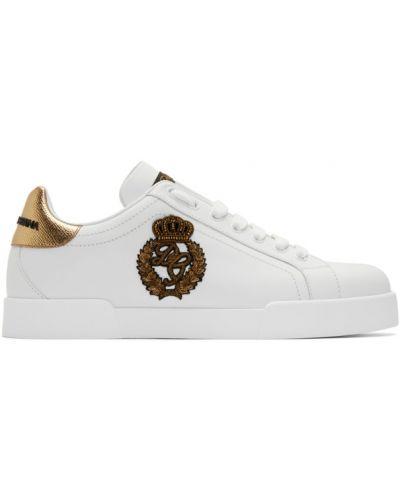 Czarny sneakersy okrągły nos okrągły zasznurować Dolce And Gabbana
