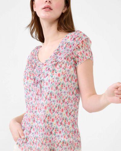 T-shirt krótki rękaw w kwiaty z falbanami Orsay