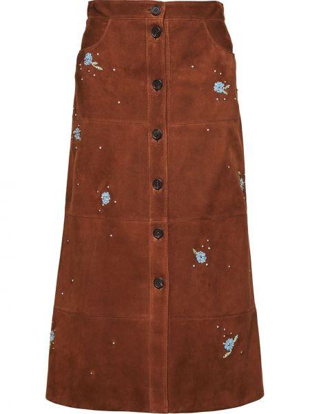 Brązowy spódnica z wiskozy z haftem z kieszeniami Miu Miu