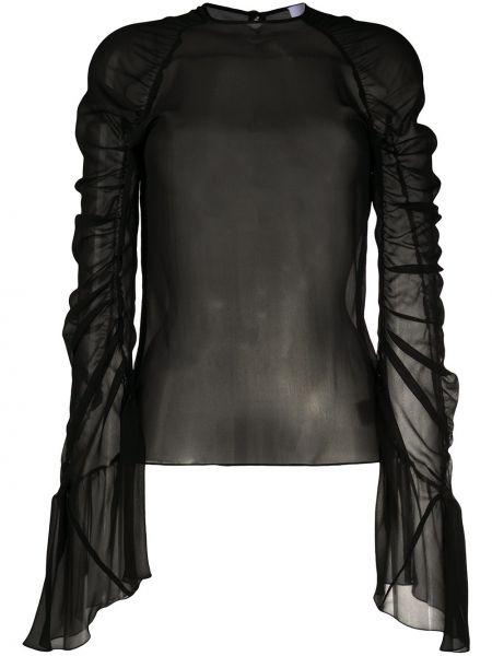 Шелковая черная блузка с длинным рукавом с оборками с вырезом Redemption