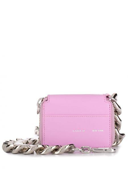 С ремешком розовый кожаный кошелек из натуральной кожи Kara