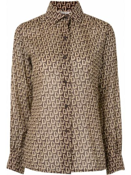Beżowy klasyczna koszula z kołnierzem z mankietami zapinane na guziki Christian Dior
