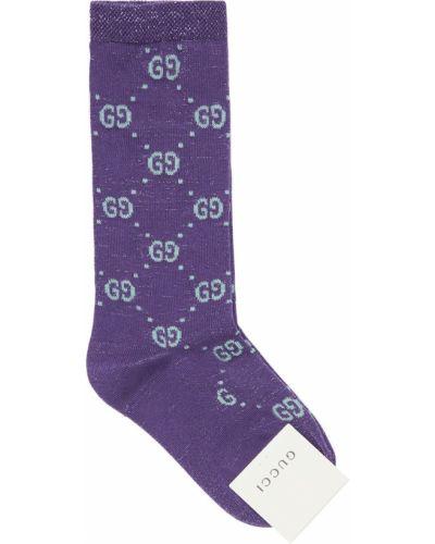Fioletowy bawełna bawełna skarpety z mankietami Gucci