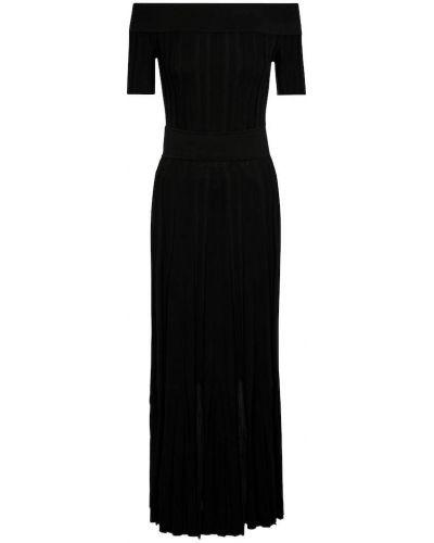 Ватное хлопковое черное платье макси Alexander Mcqueen